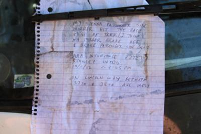 A note another driver had left the previous night after also clipping the truck