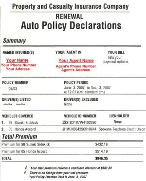 Insurance Company Auto Insurance Declaration Page State Farm